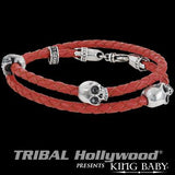 DOUBLE WRAP SKULL RED Leather and Silver Bracelet for Men