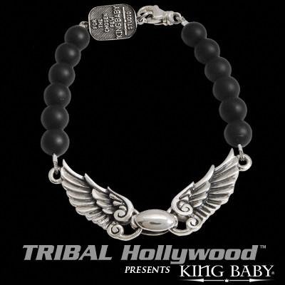 King Baby WINGSPAN Bird Wings Silver and Black Onyx Mens Bead Bracelet