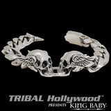 DOUBLE MERCURY SKULL Curb Link Sterling Silver Mens Bracelet by King Baby Studio