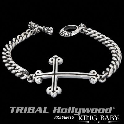 TRADITIONAL CROSS Mens ID Bracelet in Sterling Silver by King Baby