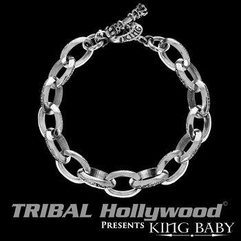 BEVELED LINK BRACELET Oval Link Silver Bracelet for Men by King Baby