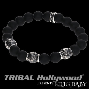 HAMMERED BEAD BRACELET Black Onyx King Baby Mens Bracelet