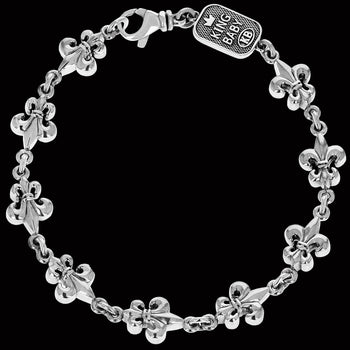 FLEUR-DE-LYS LINK BRACELET for Men in Sterling Silver by King Baby