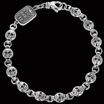 SKULL MEDALLION BRACELET for Men in Sterling Silver by King Baby