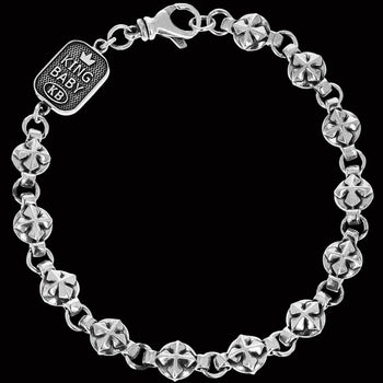 MB CROSS MEDALLION BRACELET for Men in Sterling Silver by King Baby