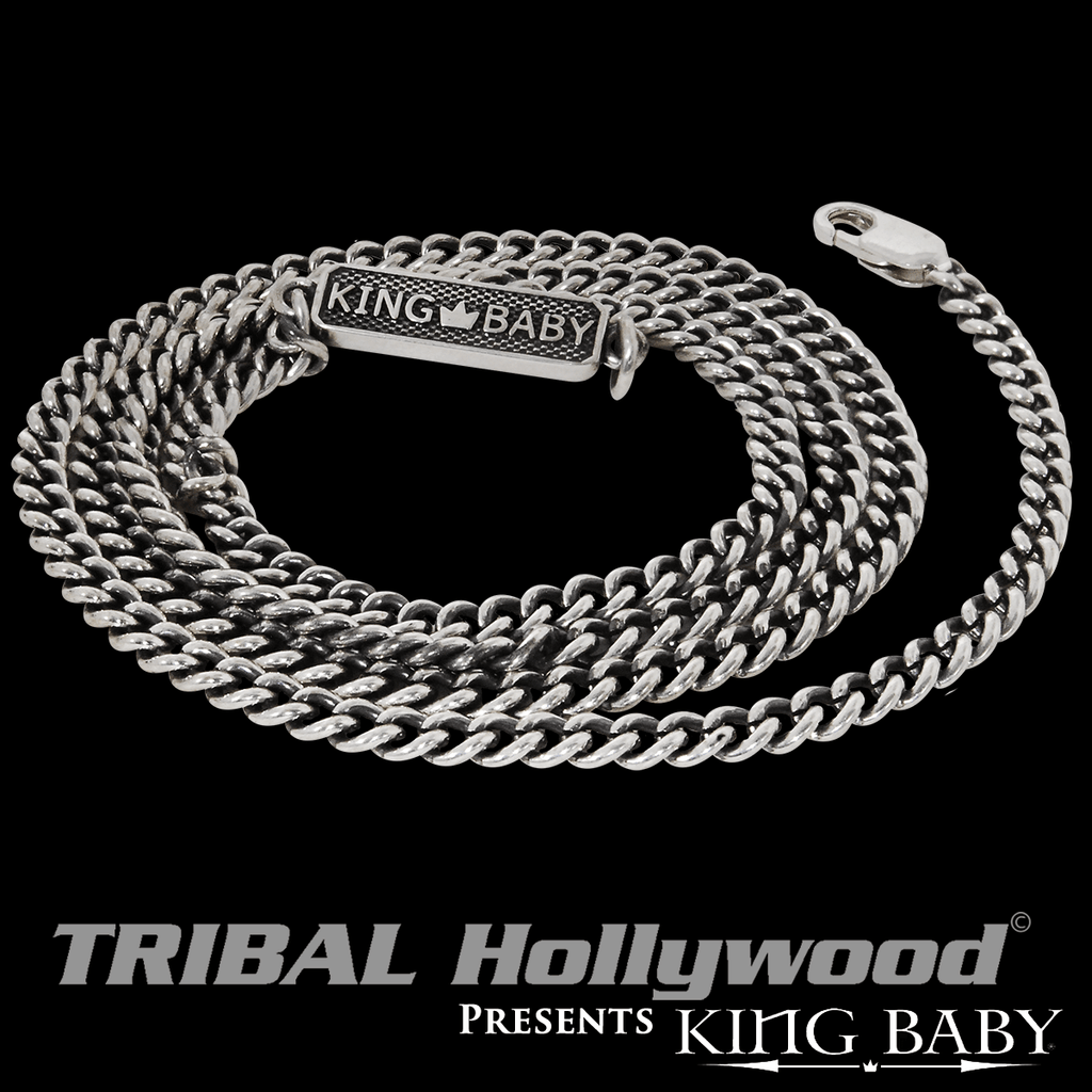 24c29c91d5e50 King Baby Fine 3mm Flat Curb Link Sterling Silver Chain Necklace