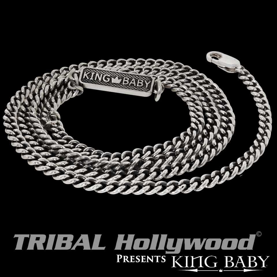 King Baby Fine 3mm Flat Curb Link Sterling Silver Chain Necklace