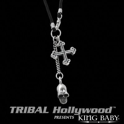 SKULL AND TRADITIONAL CROSS Sterling Silver Pendants on Cord Necklace by King Baby