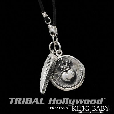 HEART COIN AND WING Sterling Silver Pendants on Cord Necklace by King Baby