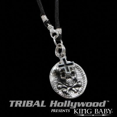 King Baby SKULL COIN AND ANCIENT CROSS Sterling Silver Mens Necklace