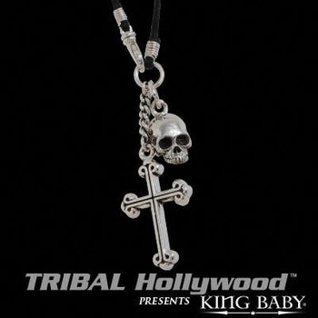 Sterling Silver HAMLET SKULL AND CROSS Mens Necklace by King Baby