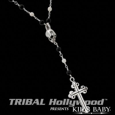 TRADITIONAL CROSS AND SKULL ROSARY Necklace with Onyx Beads and Ivory Roses by King Baby