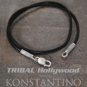 Konstantino LEATHER CORD Mens Necklace Chain with Sterling Silver Clasp