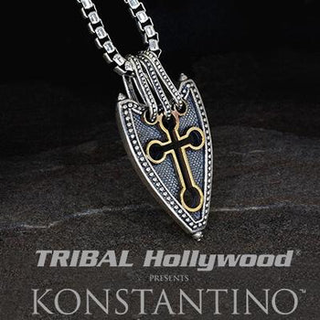 Konstantino OPEN CROSS SHIELD Sterling Silver and Bronze Mens Necklace