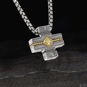 Konstantino IRON CROSS Sterling Silver and 18k Gold Pendant Chain