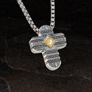 Konstantino OBLONG CROSS 18k Gold and Sterling Silver Pendant Chain
