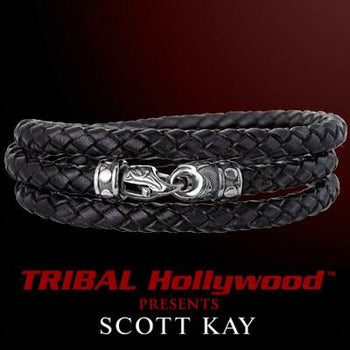 Black Leather TRIPLE WRAP AROUND Braided Bracelet - Scott Kay Mens