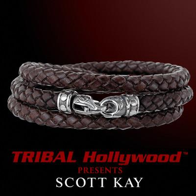 Brown Leather TRIPLE WRAP AROUND Braided Bracelet - Scott Kay Mens