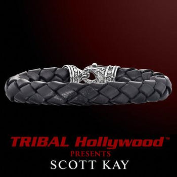 BRAIDED BLACK LEATHER Bracelet Thick Width with Scott Kay Sterling Silver Clasp