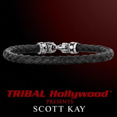 BRAIDED BLACK LEATHER Bracelet Thin Width with Scott Kay Sterling Silver Clasp