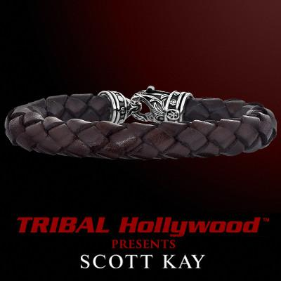 BRAIDED BROWN LEATHER Bracelet Thick Width with Scott Kay Sterling Silver Clasp