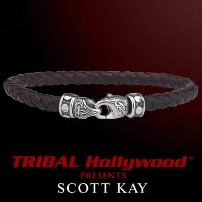 BRAIDED BROWN LEATHER Bracelet Thin Width with Scott Kay Sterling Silver Clasp