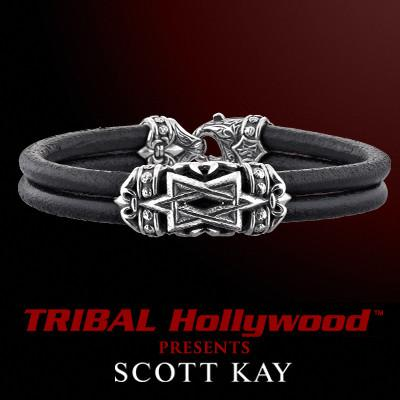 STAR OF DAVID Double Strand Black Leather Bracelet by Scott Kay Sterling Silver