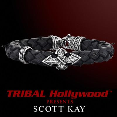 SPEAR CROSS Thick Woven Black Leather Bracelet by Scott Kay Sterling Silver