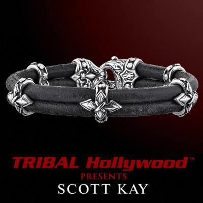 SPEAR CROSS Double Leather Black Bracelet with Five Small Sterling Silver Crosses by Scott Kay