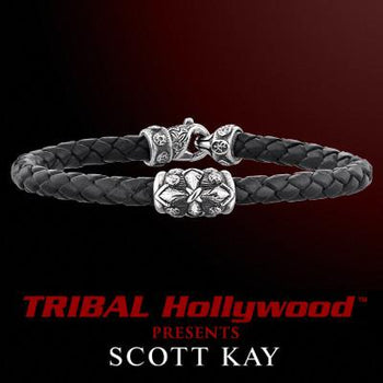 SPEAR CROSS WOVEN LEATHER and Sterling Silver Black Bracelet by Scott Kay