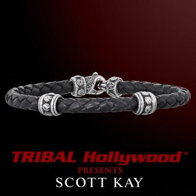 Scott Kay BOLTED RIVET RINGS Sterling Silver Mens Leather Bracelet