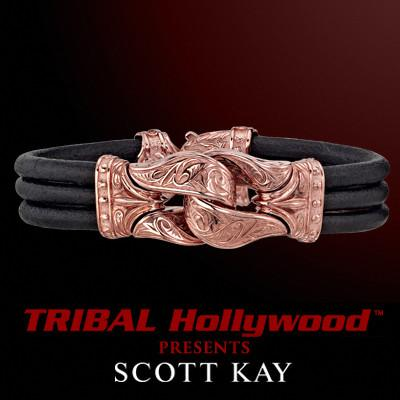 The GUARDIAN Rose Gold Vermeil Small Black Leather Bracelet by Scott Kay