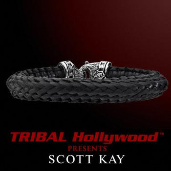 EQUESTRIAN WOVEN BRAIDED EDGE Medium Black Leather Bracelet by Scott Kay