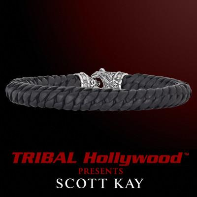 ROPE BRAIDED Thin Black Leather Scott Kay Mens Bracelet