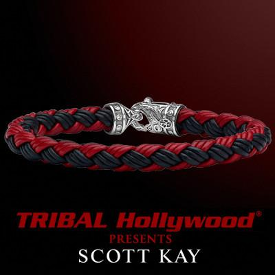 EQUESTRIAN BLACK AND RED Woven Leather Mens Bracelet by Scott Kay