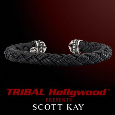 SILVER CAPPED Braided Black Leather Mens Cuff Bracelet by Scott Kay