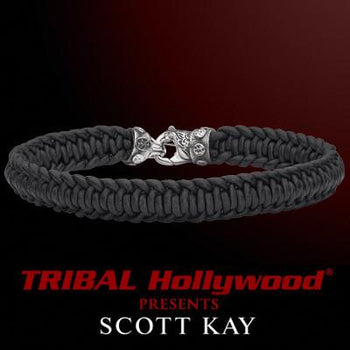 SPIRAL BRAID Black Leather Cord Mens Bracelet by Scott Kay