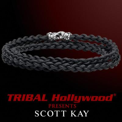 Scott Kay CORD BRAID TRIPLE WRAP Braided Mens Black Leather Bracelet