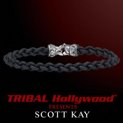 CORD BRAID BLACK Thin Braided Leather Bracelet for Men by Scott Kay