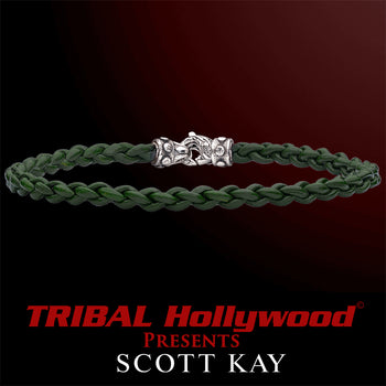 CORD BRAID GREEN Thin Braided Leather Bracelet for Men by Scott Kay