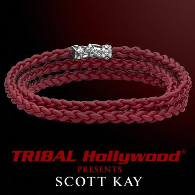 Scott Kay CORD BRAID TRIPLE RED Wraparound Red Leather Mens Bracelet