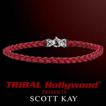 CORD BRAID RED Thin Braided Leather Bracelet for Men by Scott Kay
