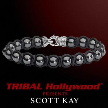 Scott Kay BRAID AND BEAD Leather and Smoky Gray Hematite Mens Bracelet