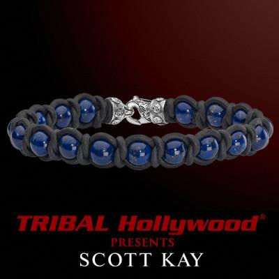 Scott Kay BRAID AND BEAD Blue Lapis Black Leather Mens Bead Bracelet
