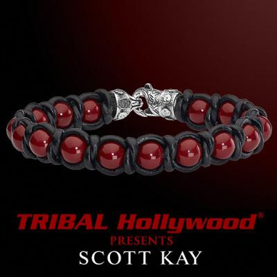 BRAID AND BEAD Red Shell Pearl and Braided Black Leather Scott Kay Mens Bracelet