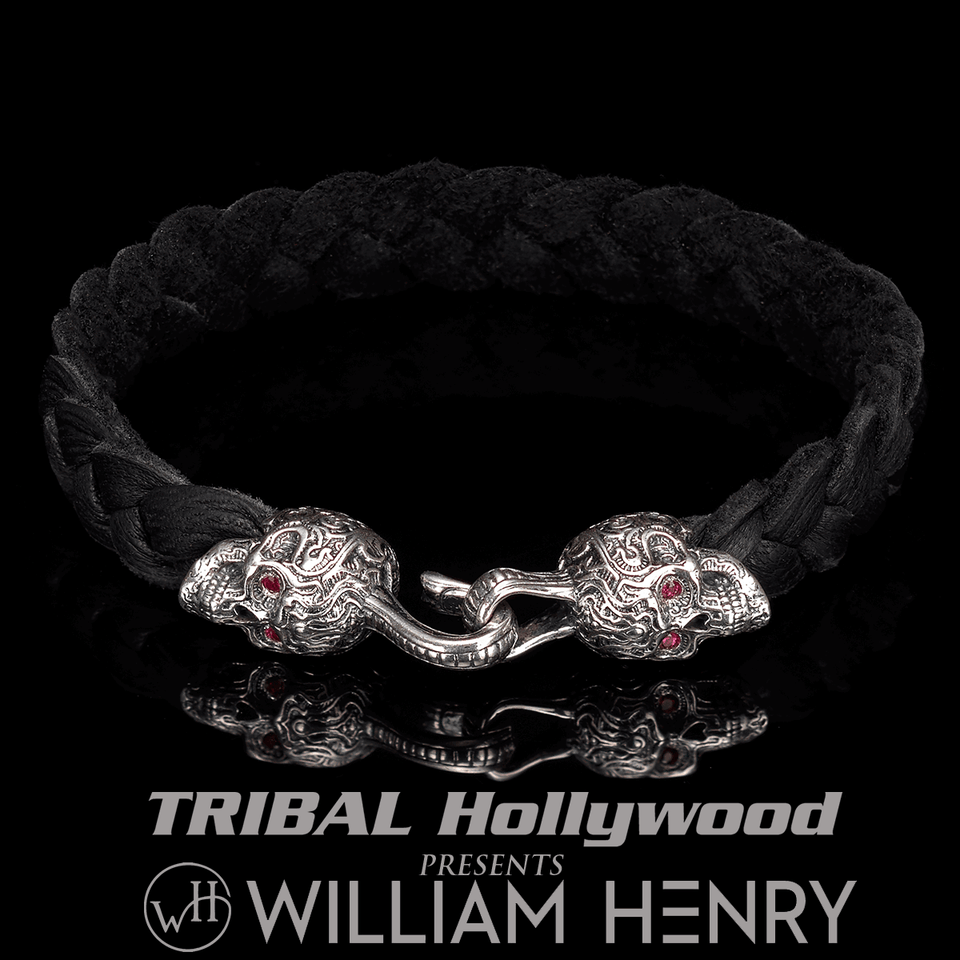 William Henry BLACKJACK Deerskin Leather Mens Silver Skull Bracelet