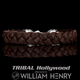 William Henry BUCCANEER Brown Deerskin Leather Mens Skull Bracelet