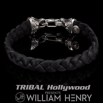 William Henry RANGER Black Deerskin Leather Bracelet for Men