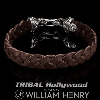 William Henry HUNTER Brown Deerskin Leather Bracelet for Men