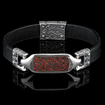 William Henry LAYLA DINO BONE Fossil ID Tag Leather Bracelet for Men